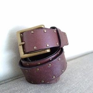 Coach 34 Brass Tone Buckle Rivet Belt Veg. Tanned